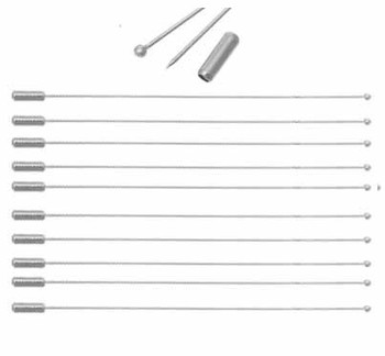 10 Steel Tone Beading Coat Stick Pin Clutch Brooches 5 Inch Long Ball Head Rb41567