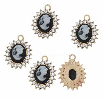 5 Charm Pendants One Sided Beads Resin Camio Rinestones 19x14mm Rb60287