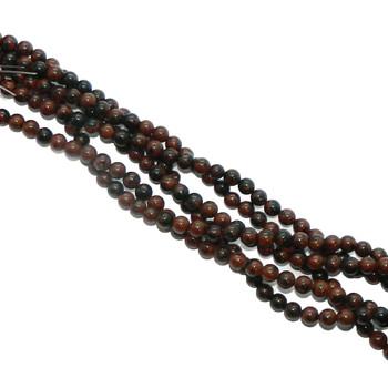 "4mm Mahogany Obsidian Natural Round Beads 40Cm 15"" Stone B1-4B28"