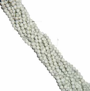 """4mm White Howlite Natural Round Beads 40Cm 15"""" Stone B2-4B9"""
