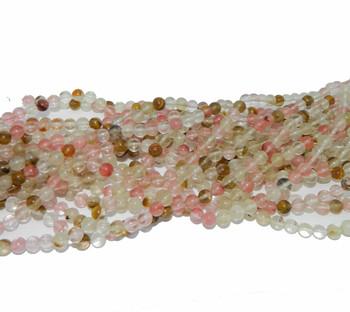 "4mm Fire Cherry Quartz Manmade Gemstone beads Round Beads 15"" Loose Strand"