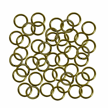 Open Jump Rings 24 grams Antique Gold/Brass Plated Brass 8mm Round 18 Gauge apx 165pc