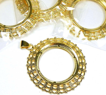 4 Gold-Plated Fits 38mm Round Cabochon Pendant Setting 4 8777Fn
