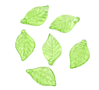 450 Green Leaf Acrylic Beads Bead 18x11mm Approx 3/4 Inch