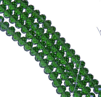 Green Transparent Luster Faceted 8mm Rondelle Beads 70 Piece Luster Glass Crystal Beads