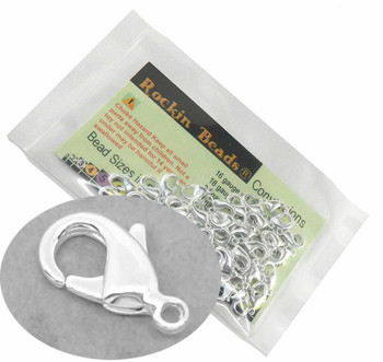 100 Silver Plated Lobster Claw Findings Clasps 12x6mm Rb00841