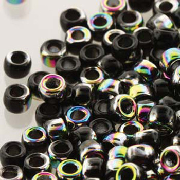 Matubo Czech Glass Seed Beads 8/0 3.1mm 7.5gr 1.2mm Hole Jet Vitrail