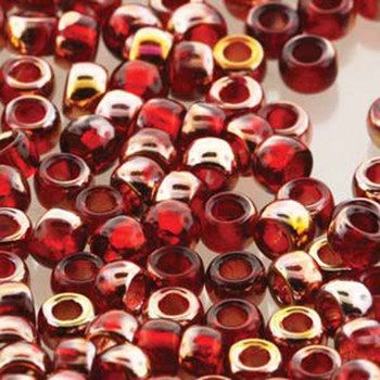 Matubo Czech Glass Seed Beads 8/0 3.1mm 7.5Gr 1.2mm Hole Ruby Gold Capri Mtb08-90080-27101-Tb
