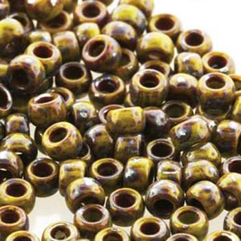 Matubo Czech Glass Seed Beads 8/0 3.1mm 7.5gr 1.2mm Hole Green Picasso Op