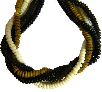 """4x6mm Rondelle 4 Color Mix Genuine Bone Beads Aprx 60"""" Strand 500 beads"""