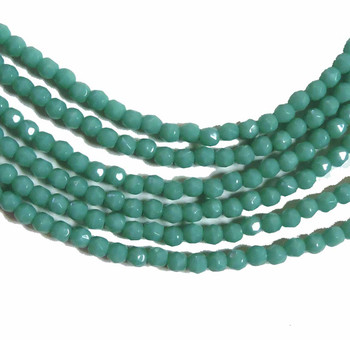 Turquoise Green 3mm Faceted FirePolished Czech Glass 48 Beads 6-Fpr0363130