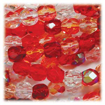 Strawberry 48 Czech 10mm Faceted Round FirePolished Glass Beads Fpr10Mix05