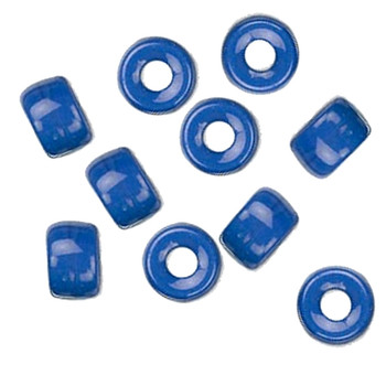 Blue Opaque 10Pc Czech Glass Macrame & Leather Crow Beads 9x4mm 3mm Hole H20-4219Md