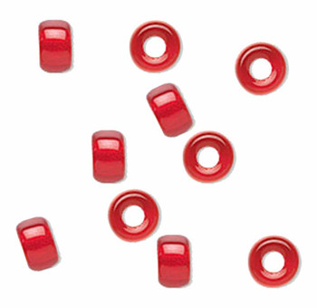 Light Red 10Pc Czech Glass Macrame & Leather Crow Beads 9x4mm 3mm Hole H20-4202Md