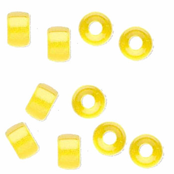 Yellow 10Pc Czech Glass Macrame & Leather Crow Beads 9x4mm 3mm Hole H20-4208Md