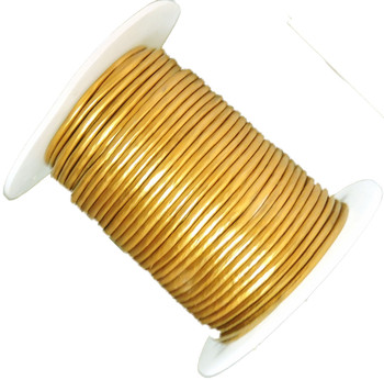 Gold 1.5mm Buffalo Leather Round Cord 25 Yards Ba-Blc242-15mmgold