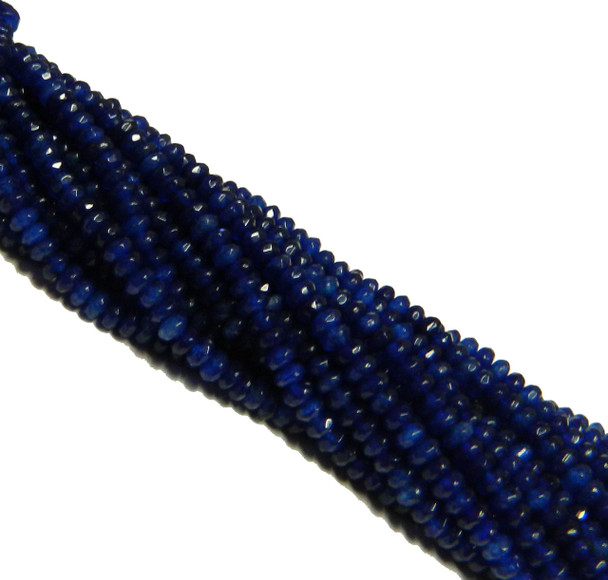 Lapis Jade 4mm Faceted Dyed Gemstone Rondelle Beads 15 Inch Loose B2-Sc1B74