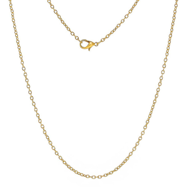 12 Pack Gold Plated 2mm Oval Cable Chain Necklace 24 Inch Rb59642