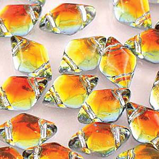 Gemduo 8x5mm Backlit Tequila 2-Holes Diamond Shape Beads, 30 Beads