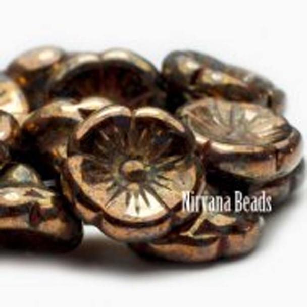 12mm Button Flower 10 Beads Bk Black Bronze