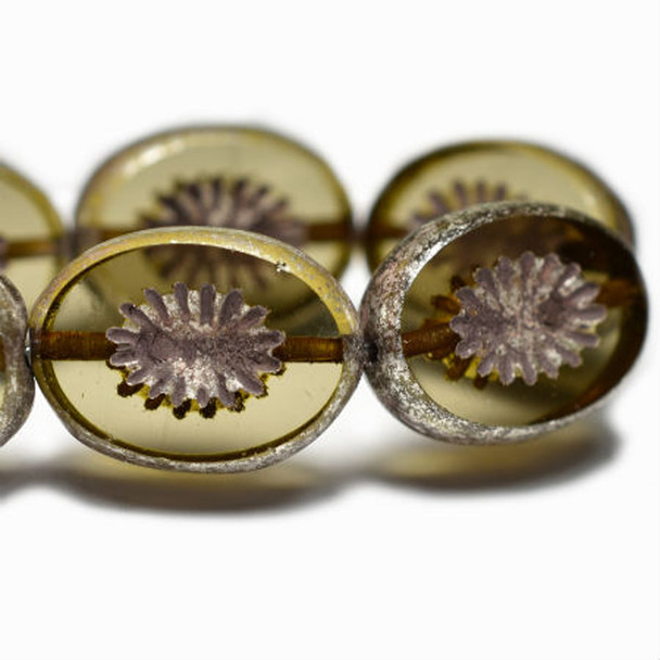 14x10mm Carved Ovals - Khaki with a silver finish 9 beads