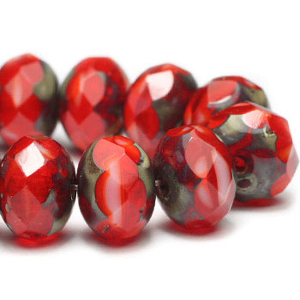 8x6MM Rondelle Beads O. Red Orange 24 Beads