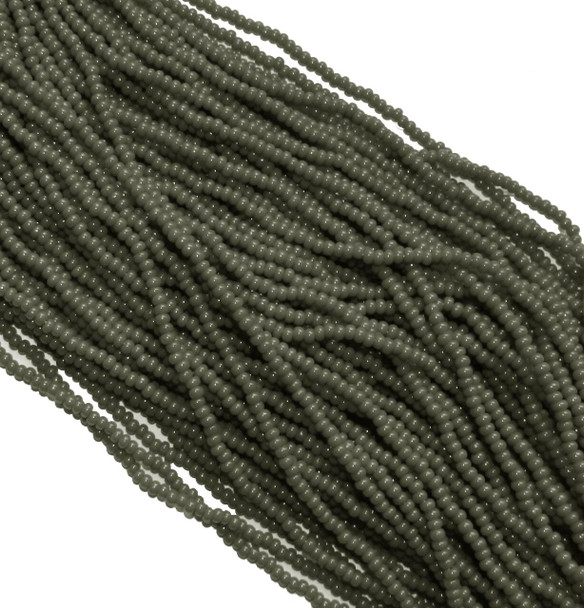 Mouse grey Opaque Czech 8/0 Glass Seed Beads 12 Strand Hank Preciosa Sb8-53430