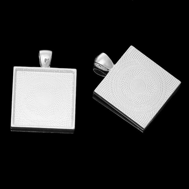 Zinc Based Alloy Cabochon Setting Pendants Square Silver Plated (Fits 25mm x 25mm) 37mm x 28mm, 10 PCs