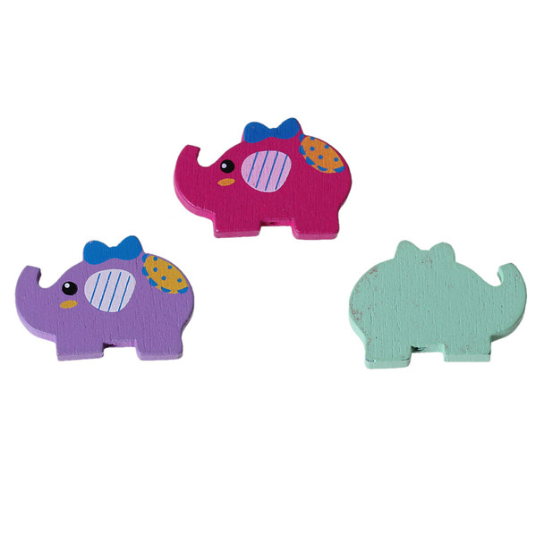 Maple Wood Beads Elephant At Random Bowknot Pattern About 30mm x 21mm, Hole: Approx 1.9mm, 50 PCs