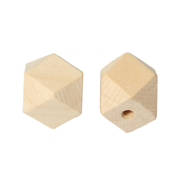 """Natural Hinoki Wood Spacer Beads Geometric Polyhedron Faceted About 20mm x 20mm, Hole:Approx 4.2mm(1/8"""")-3.7mm(1/8""""),30 PCs."""