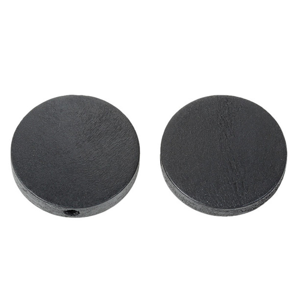 Hinoki Wood Spacer Beads Flat Round Black About 25mm Dia, Hole: Approx 2.3mm, 50 PCs