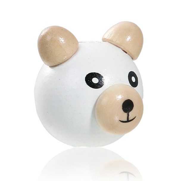Natural Hinoki Wood 3D Beads Bear Animal White About 29mm x27mm - 26mm x25mm, Hole: Approx 5mm-6mm, 5 PCs