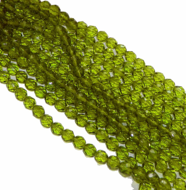 24 FirePolished Faceted Czech Glass Beads 6mm Olivine 5023