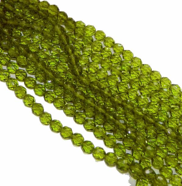 24 Firepolish Faceted Czech Glass Beads 8mm Olivine