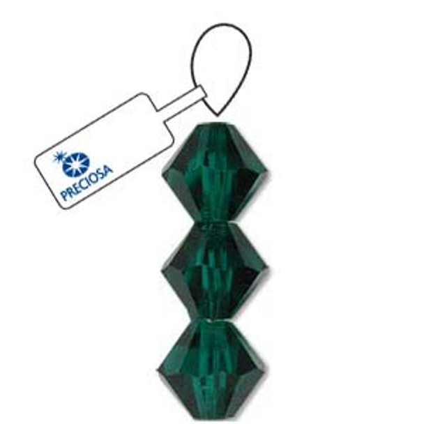 Crystal Bicone 4mm Emerald 30 Beads Preciosa Czech Crystal