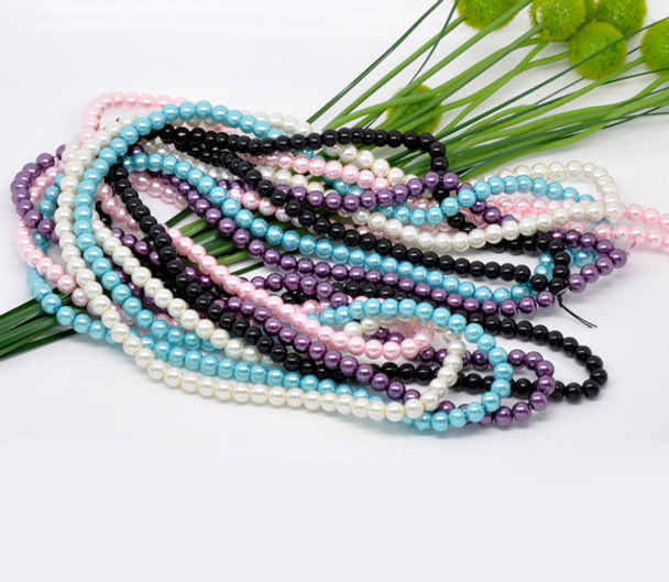 BLUE ONLY 4mm Round 200 Glass Pearls Glass Coated Pearl Beads