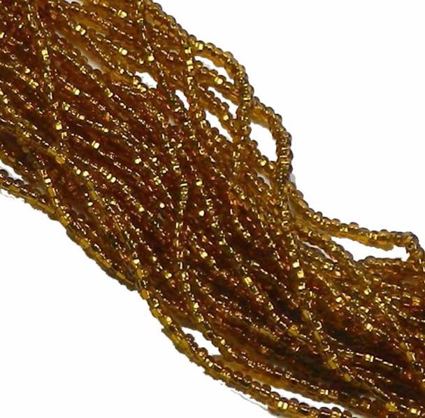 Czech 11/0 Glass Seed Beads 1 (6 String Hank) Preciosa Silver Lined Topaz Sb1117090