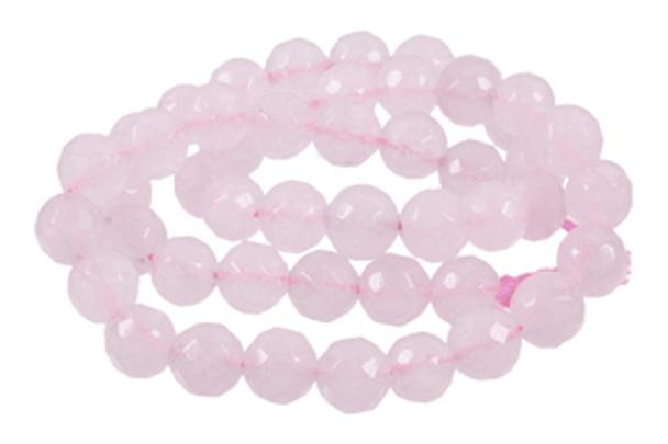 """10mm Rose Faceted Quartz Round Beads 40Cm 15"""" Gemstone"""