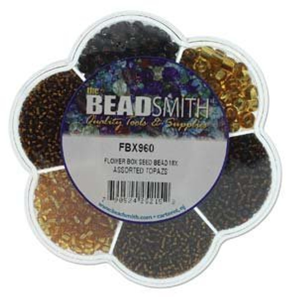 Czech Seed and Bugle Bead Mix Topaz Flower Box Glass Seed Beads