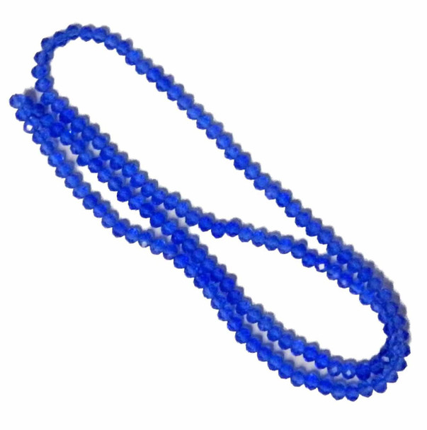 Medium Blue Faceted 4mm Rondelle Beads 120 Piece Luster Glass Beads B1-Uc1A14