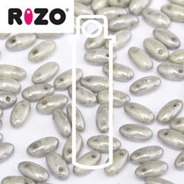 Grey Luster 2.5x6mm Rizo Beads Czech Glass Seed Beads 22 Gram Tube