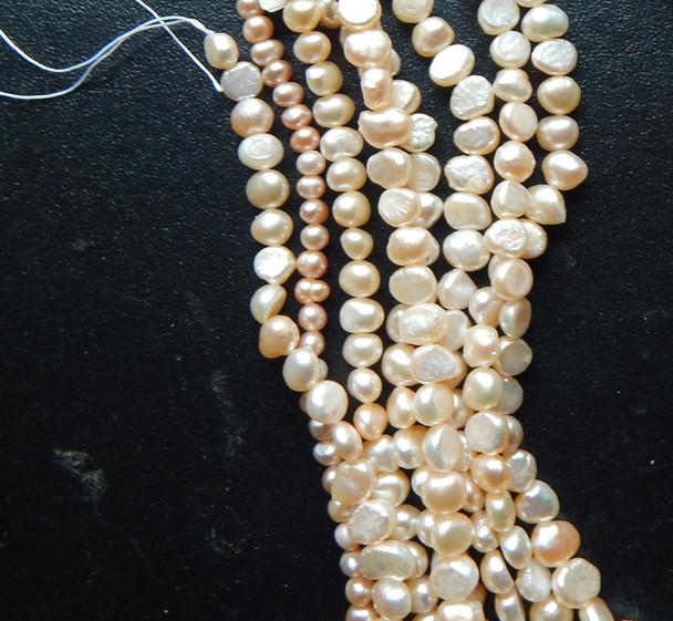 4-6mm Champain Baroque Potato Pearls Beads d grade 15 inch loose strand