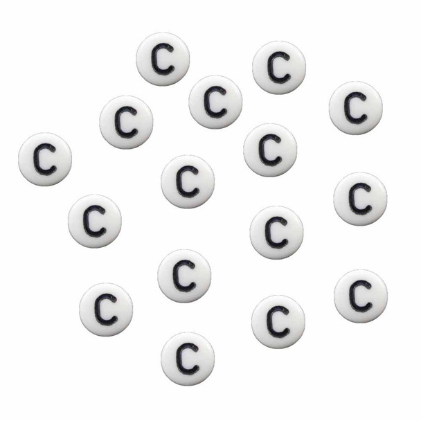 "100 White Acrylic Alphabet Letter ""C"" Coin Spacer Beads 7x4mm Round"