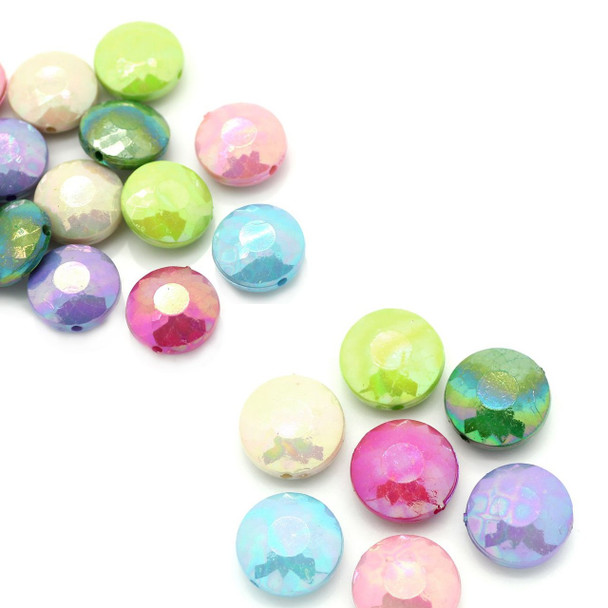 90 Acrylic Faceted Puffed Coin Random Ab Mix Faceted 14mm Hole Approx 1mm Rb24409