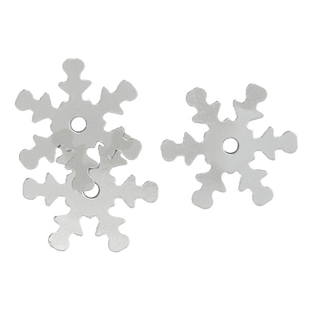 800 Silver Snowflake Sequins For Sewing Card Making Scrapbooking Crafts 13mm 4U-G7L3-6Znj