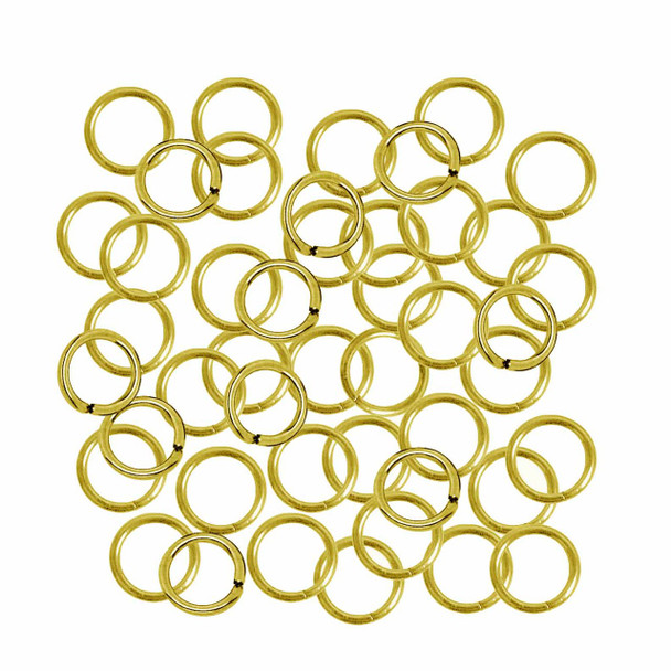 100 Jump Rings Gold-Plated 9mm Round 18 Gauge Open Sold Per Pkg Of 100 Rb-A5008Fn