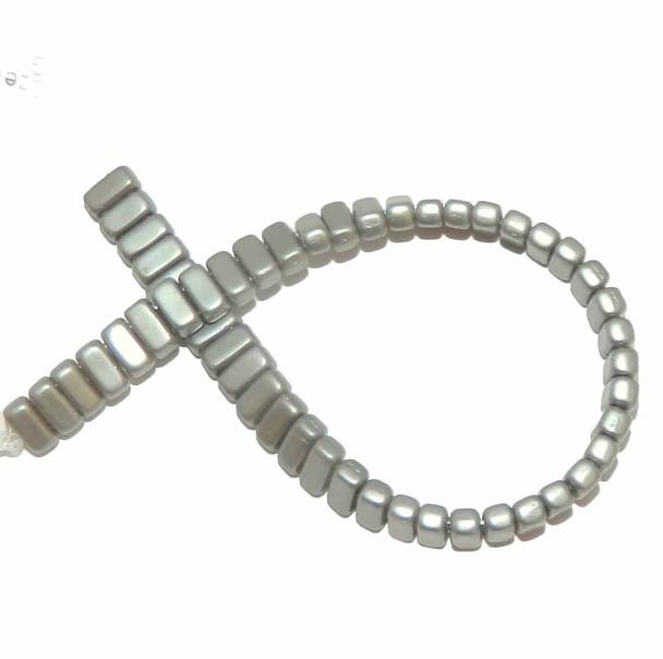 Silver Grey Brick 3x6mm Square Glass Czech 50 Two Hole Beads Brc36-25028Al