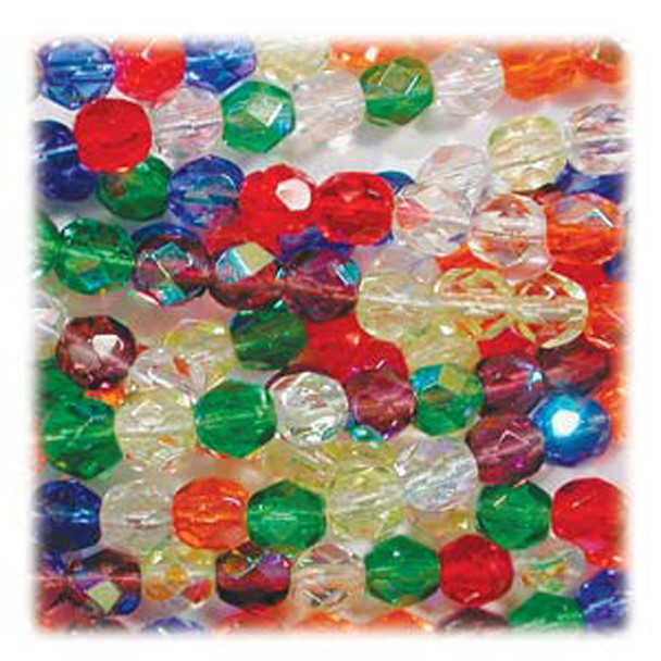 Rainbow AB Mix 48 Czech 10mm Faceted Round Firepolished Glass Beads