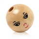 Wood Spacer Beads Ball Natural Smile Pattern About 22mm Dia, Hole: Approx 5mm, 30 PCs