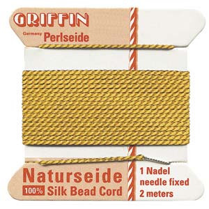 Size 4 Griffin Silk Beading Cord and Needle Jet Black